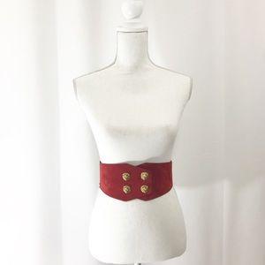 Vintage Belt Red Suede Gold Lion Head